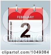Royalty Free RF Clip Art Illustration Of A 3d Groundhog Day February 2 Flip Desk Calendar