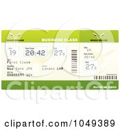 Royalty Free RF Clip Art Illustration Of A Green Business Class Airplane Ticket by michaeltravers