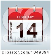 Royalty Free RF Clip Art Illustration Of A 3d Valentines Day February 14 Flip Desk Calendar