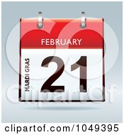 Royalty Free RF Clip Art Illustration Of A 3d Mardi Gras February 21 Flip Desk Calendar