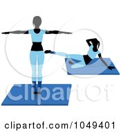 Royalty Free RF Clip Art Illustration Of A Digital Collage Of Fitness Women Wearing Blue And Doing Aerobics Poses On Mats