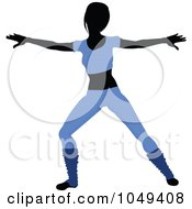 Royalty Free RF Clip Art Illustration Of A Fitness Woman Wearing Blue And Doing An Aerobics Pose 4
