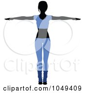 Royalty Free RF Clip Art Illustration Of A Fitness Woman Wearing Blue And Doing An Aerobics Pose 1