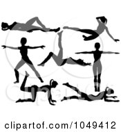 Digital Collage Of Silhouetted Fitness Women In Aerobics Poses