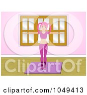 Royalty Free RF Clip Art Illustration Of An Aerobics Fitness Instructor In Pink Working Out On A Mat In A Gym