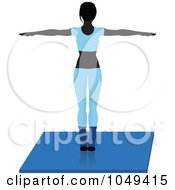 Royalty Free RF Clip Art Illustration Of A Fitness Woman Wearing Blue And Doing An Aerobics Pose On A Mat 1