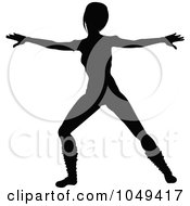 Silhouetted Fitness Woman In An Aerobics Pose 3