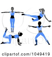 Royalty Free RF Clip Art Illustration Of A Digital Collage Of Fitness Women Wearing Blue And Doing Aerobics Poses