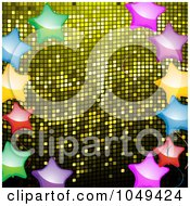 Royalty Free RF Clip Art Illustration Of A Border Of Shiny Colorful Stars Over Yellow Mosaic by elaineitalia