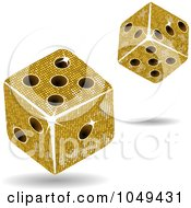 Royalty Free RF Clip Art Illustration Of 3d Gold Mosaic Dice Rolling by elaineitalia