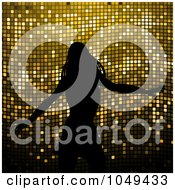Royalty Free RF Clip Art Illustration Of A Silhouetted Dancing Woman Against Gold Mosaic