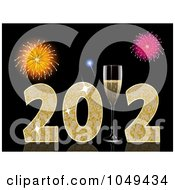 Royalty Free RF Clip Art Illustration Of A 3d 2011 With Champagne Glasses And Fireworks On Black by elaineitalia