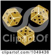 Royalty Free RF Clip Art Illustration Of Three 3d Gold Mosaic Dice Rolling On Black
