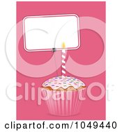 Royalty Free RF Clip Art Illustration Of A 3d Cupcake And Blank Sign Label On Pink by elaineitalia