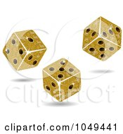 Royalty Free RF Clip Art Illustration Of 3d Gold Mosaic Dice Tumbling