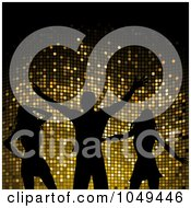 Royalty Free RF Clip Art Illustration Of Silhouetted Dancing Women And A Man Against Gold Mosaic
