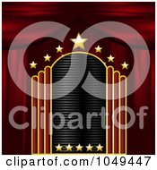 Royalty Free RF Clip Art Illustration Of A Blank Gold Red And Black Starry Theater Sign With Stage Curtains by elaineitalia