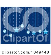 Royalty Free RF Clip Art Illustration Of A Background Of Suspended Diamonds And Stars Over Blue by elaineitalia
