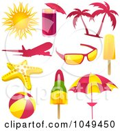 Royalty Free RF Clip Art Illustration Of A Digital Collage Of Pink Yellow And Green Travel Icons by elaineitalia