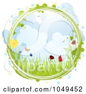 Green Cirlce Framing A Spring Scene Of Grasses Flowers And Butterflies