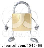 Royalty Free RF Clip Art Illustration Of A 3d Padlock Character Facing Forward