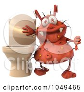 Royalty Free RF Clip Art Illustration Of A 3d Rodney Germ Holding A Thumb Down By A Toilet