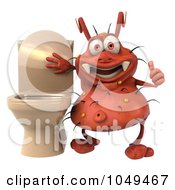 Royalty Free RF Clip Art Illustration Of A 3d Rodney Germ Holding A Thumb Up By A Toilet