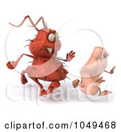 Royalty Free RF Clip Art Illustration Of A 3d Rodney Germ Chasing A Foot 3