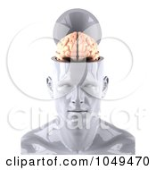Royalty Free RF Clip Art Illustration Of A 3d White Man With A Brain Exposed by Julos