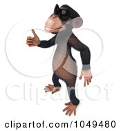 Royalty Free RF Clip Art Illustration Of A 3d Chumpy Chimp Facing Left And Holding A Thumb Up In Shades