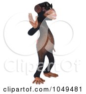 Royalty Free RF Clip Art Illustration Of A 3d Chumpy Chimp Facing Right And Waving In Shades