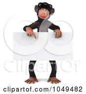 Royalty Free RF Clip Art Illustration Of A 3d Chumpy Chimp In Shades Holding A Blank Sign