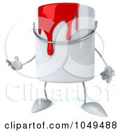 3d Can Of Red Paint Character Gesturing