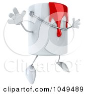 3d Can Of Red Paint Character Jumping