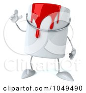 3d Can Of Red Paint Character With An Idea