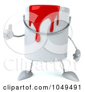 3d Can Of Red Paint Character Holding A Thumb Up