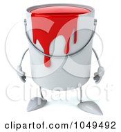 3d Can Of Red Paint Character