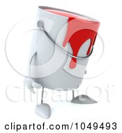 3d Can Of Red Paint Character Facing Right And Pouting