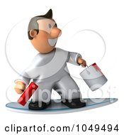 Royalty Free RF Clip Art Illustration Of A 3d Painter Guy Surfing by Julos
