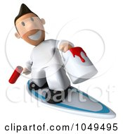 Royalty Free RF Clip Art Illustration Of A 3d Painter Guy Surfing Forward by Julos