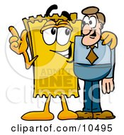 Yellow Admission Ticket Mascot Cartoon Character Talking To A Business Man