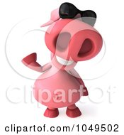 Royalty Free RF Clip Art Illustration Of A 3d Pookie Pig Wearing Shades And Waving
