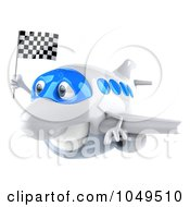 Royalty Free RF Clip Art Illustration Of A 3d Airplane Character With A Checkered Flag 2