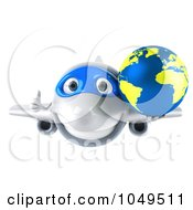 Royalty Free RF Clip Art Illustration Of A 3d Airplane Character With A Globe