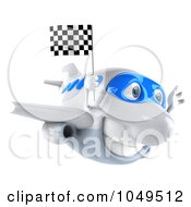 Royalty Free RF Clip Art Illustration Of A 3d Airplane Character With A Checkered Flag 3