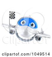 Royalty Free RF Clip Art Illustration Of A 3d Airplane Character With A Checkered Flag 1