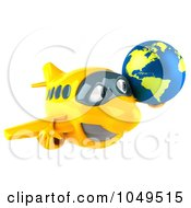 Royalty Free RF Clip Art Illustration Of A 3d Yellow Airplane Character With A Globe 2