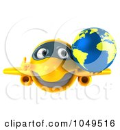 Royalty Free RF Clip Art Illustration Of A 3d Yellow Airplane Character With A Globe 1