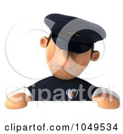 3d Police Man Over A Blank Sign
