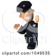 3d Police Man Around A Blank Sign